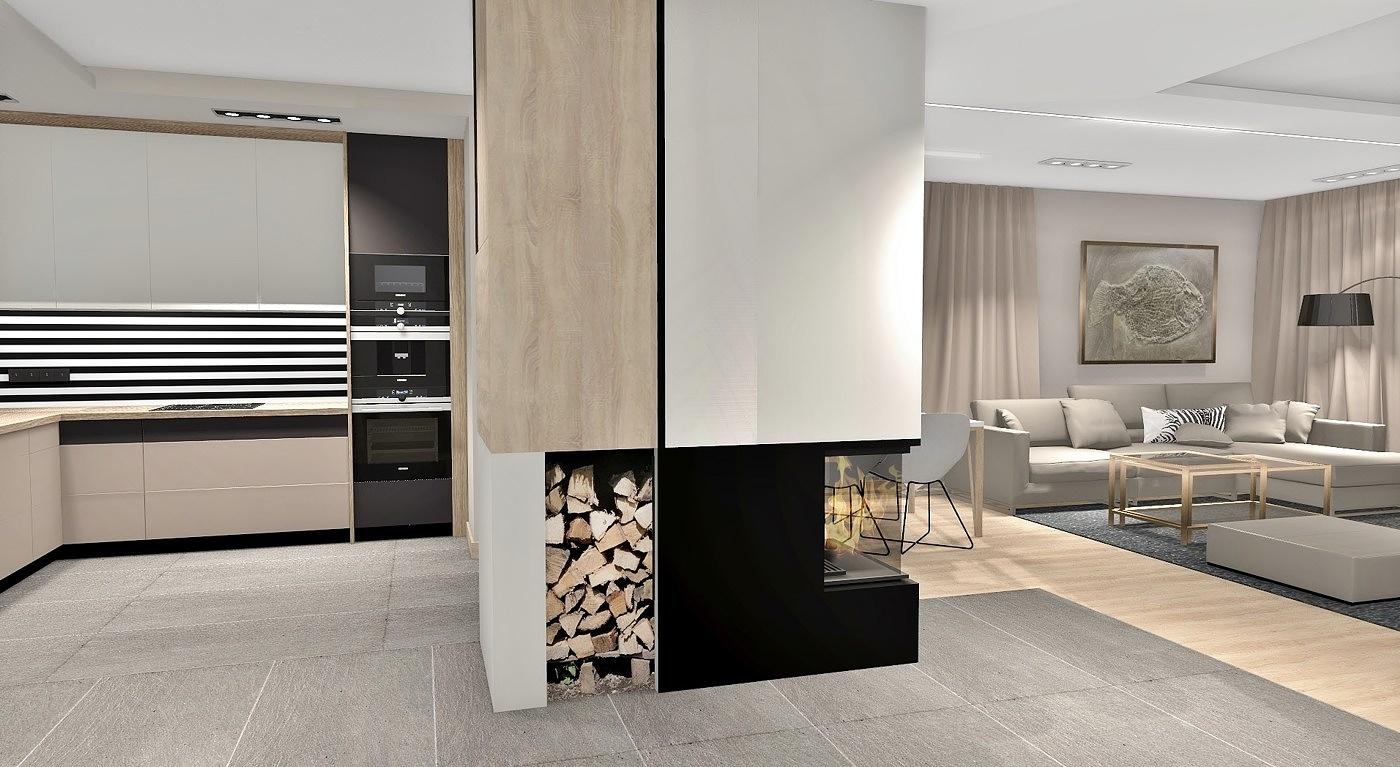 otwarta kuchnia z widocznym kominkiem i strefą wypoczynkową w projekcie wnętrza domu jednorodzinnego pod rzeszowem